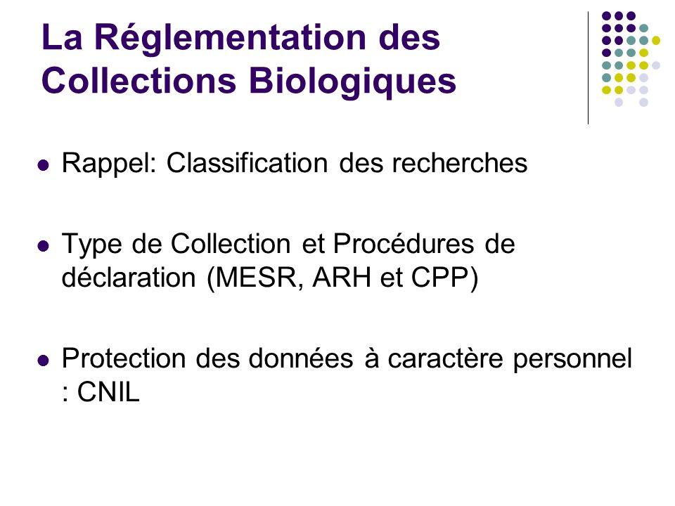 La Réglementation des Collections Biologiques Rappel: Classification des recherches Type de Collection et Procédures de déclaration (MESR, ARH et CPP)