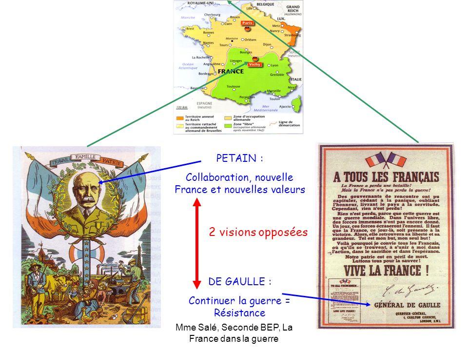 Mme Salé, Seconde BEP, La France dans la guerre PETAIN : Collaboration, nouvelle France et nouvelles valeurs DE GAULLE : Continuer la guerre = Résista