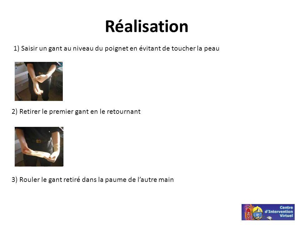 Réalisation 1) Saisir un gant au niveau du poignet en évitant de toucher la peau 2) Retirer le premier gant en le retournant 3) Rouler le gant retiré