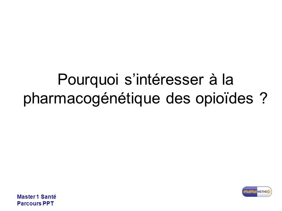 Master 1 Santé Parcours PPT Pourquoi sintéresser à la pharmacogénétique des opioïdes ?