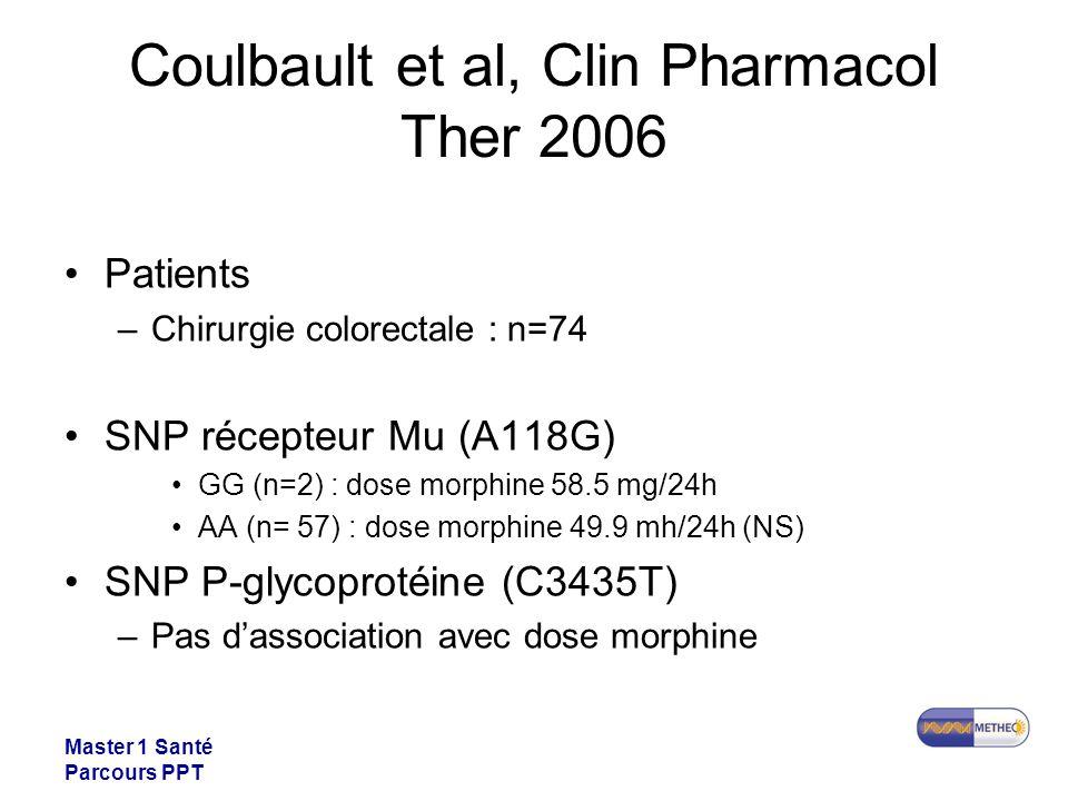 Master 1 Santé Parcours PPT Coulbault et al, Clin Pharmacol Ther 2006 Patients –Chirurgie colorectale : n=74 SNP récepteur Mu (A118G) GG (n=2) : dose morphine 58.5 mg/24h AA (n= 57) : dose morphine 49.9 mh/24h (NS) SNP P-glycoprotéine (C3435T) –Pas dassociation avec dose morphine
