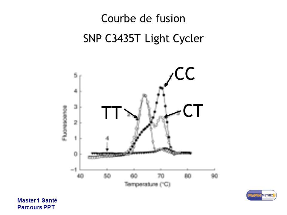 Master 1 Santé Parcours PPT Courbe de fusion SNP C3435T Light Cycler CC CT TT