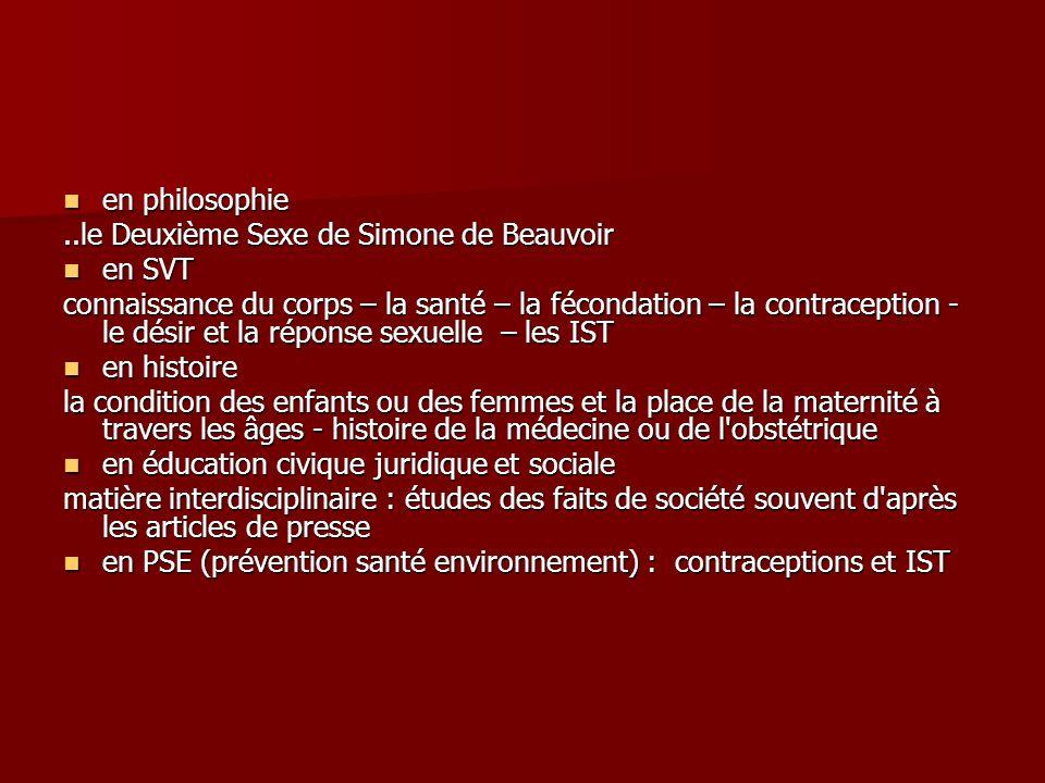 en philosophie en philosophie..le Deuxième Sexe de Simone de Beauvoir en SVT en SVT connaissance du corps – la santé – la fécondation – la contracepti