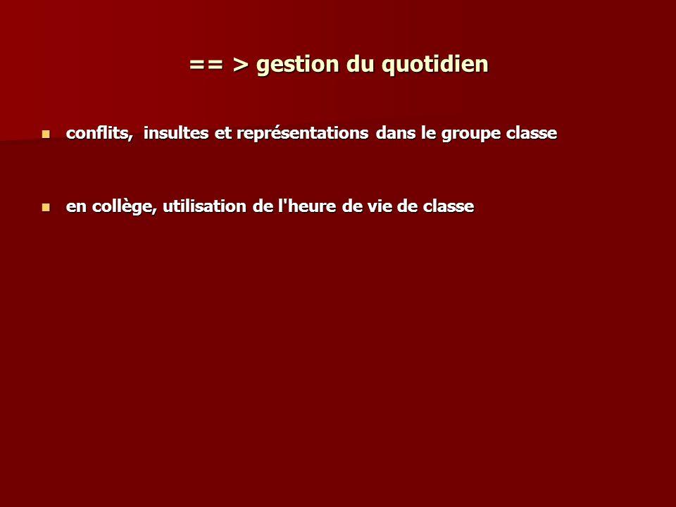 == > gestion du quotidien conflits, insultes et représentations dans le groupe classe conflits, insultes et représentations dans le groupe classe en c