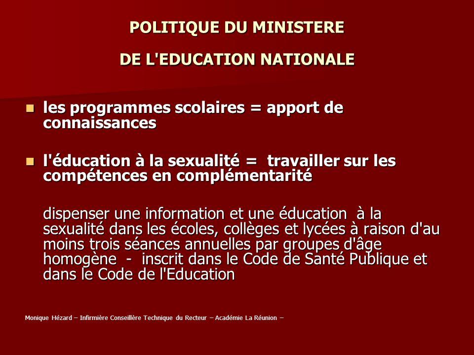 POLITIQUE DU MINISTERE DE L'EDUCATION NATIONALE les programmes scolaires = apport de connaissances les programmes scolaires = apport de connaissances