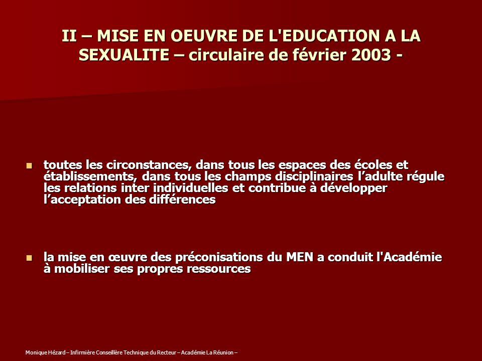 II – MISE EN OEUVRE DE L'EDUCATION A LA SEXUALITE – circulaire de février 2003 - toutes les circonstances, dans tous les espaces des écoles et établis