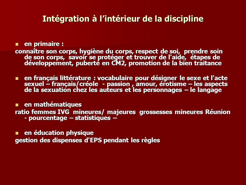 Intégration à lintérieur de la discipline en primaire : en primaire : connaître son corps, hygiène du corps, respect de soi, prendre soin de son corps