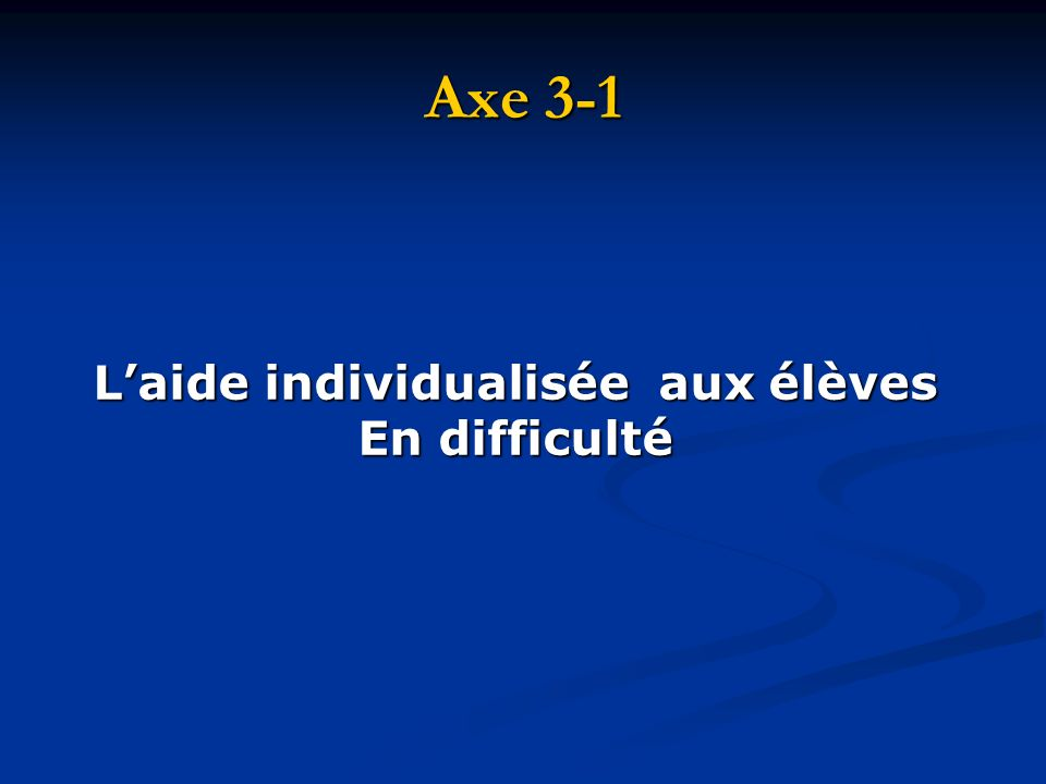 Axe 3-1 Laide individualisée aux élèves En difficulté