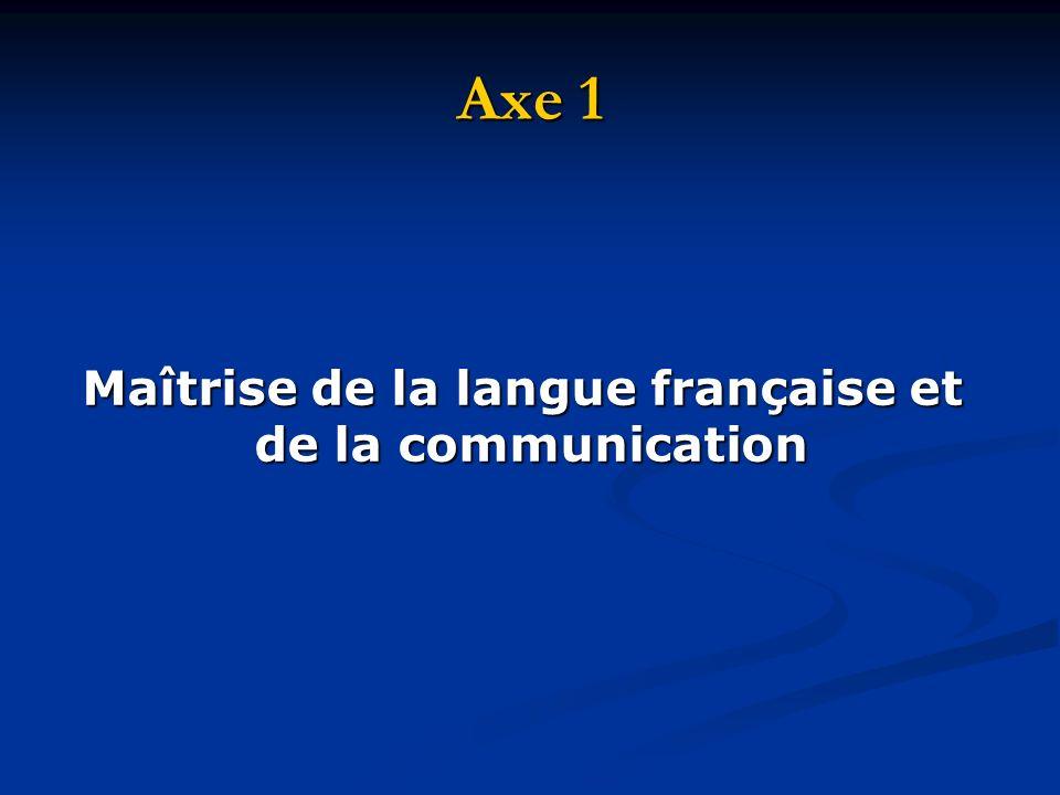 Axe 1 Maîtrise de la langue française et de la communication de la communication