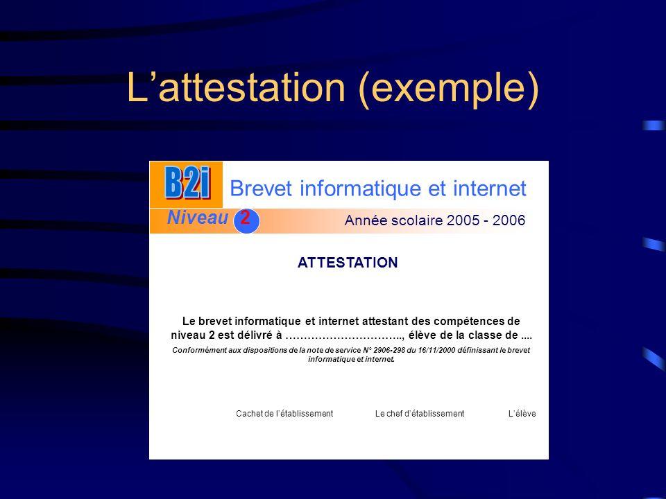 Lattestation (exemple) Brevet informatique et internet Niveau 2 2 Année scolaire 2005 - 2006 ATTESTATION Le brevet informatique et internet attestant