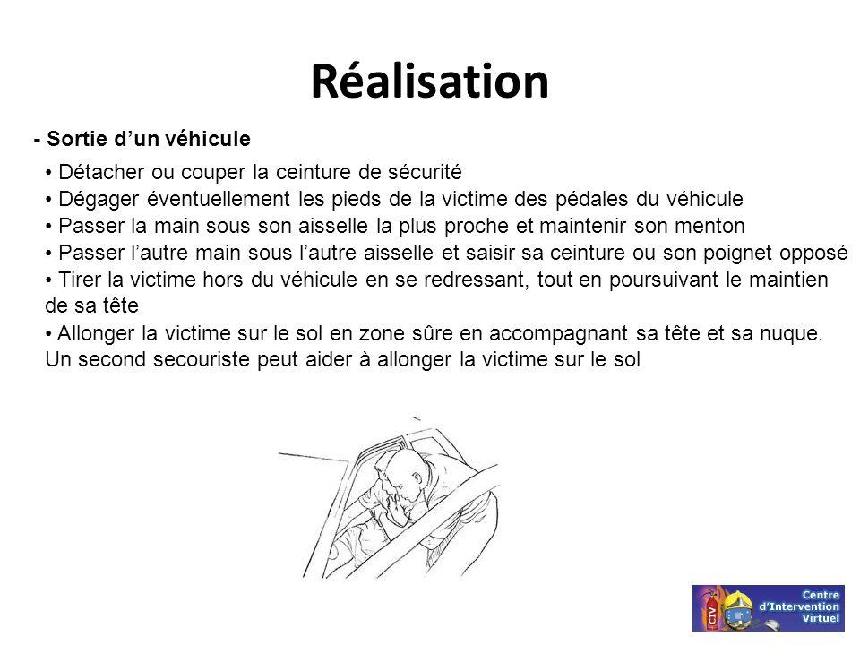 Réalisation - Sortie dun véhicule Détacher ou couper la ceinture de sécurité Dégager éventuellement les pieds de la victime des pédales du véhicule Pa