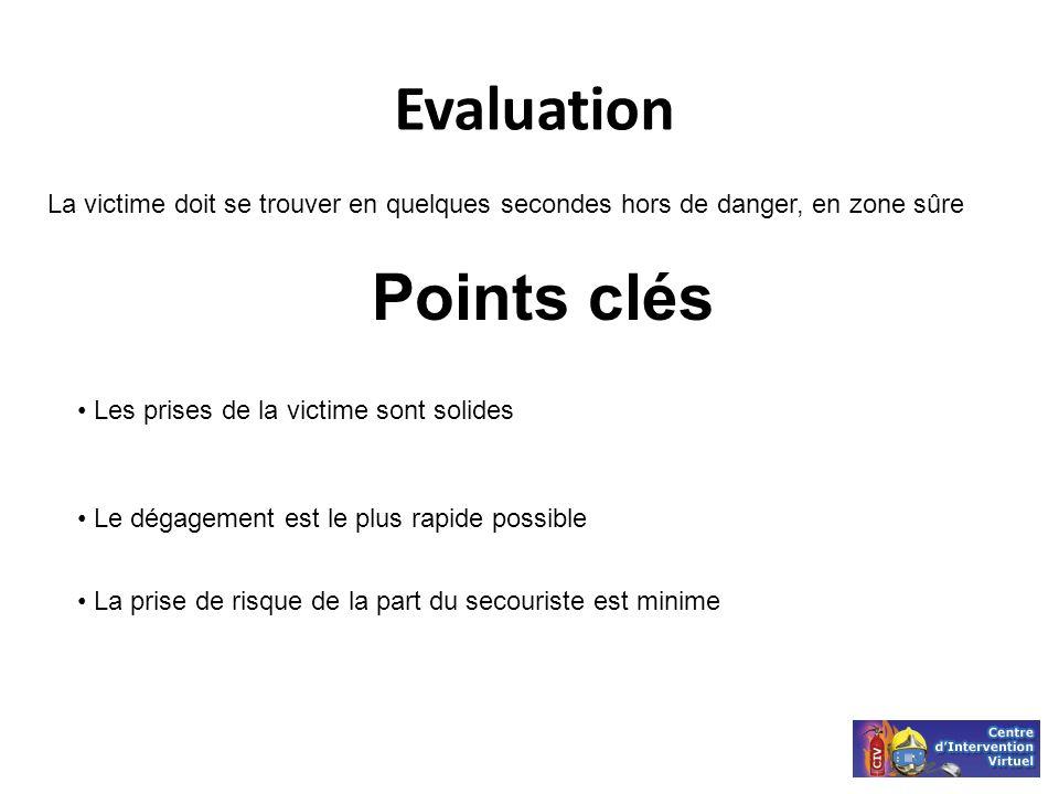 La victime doit se trouver en quelques secondes hors de danger, en zone sûre Points clés Evaluation Les prises de la victime sont solides Le dégagemen