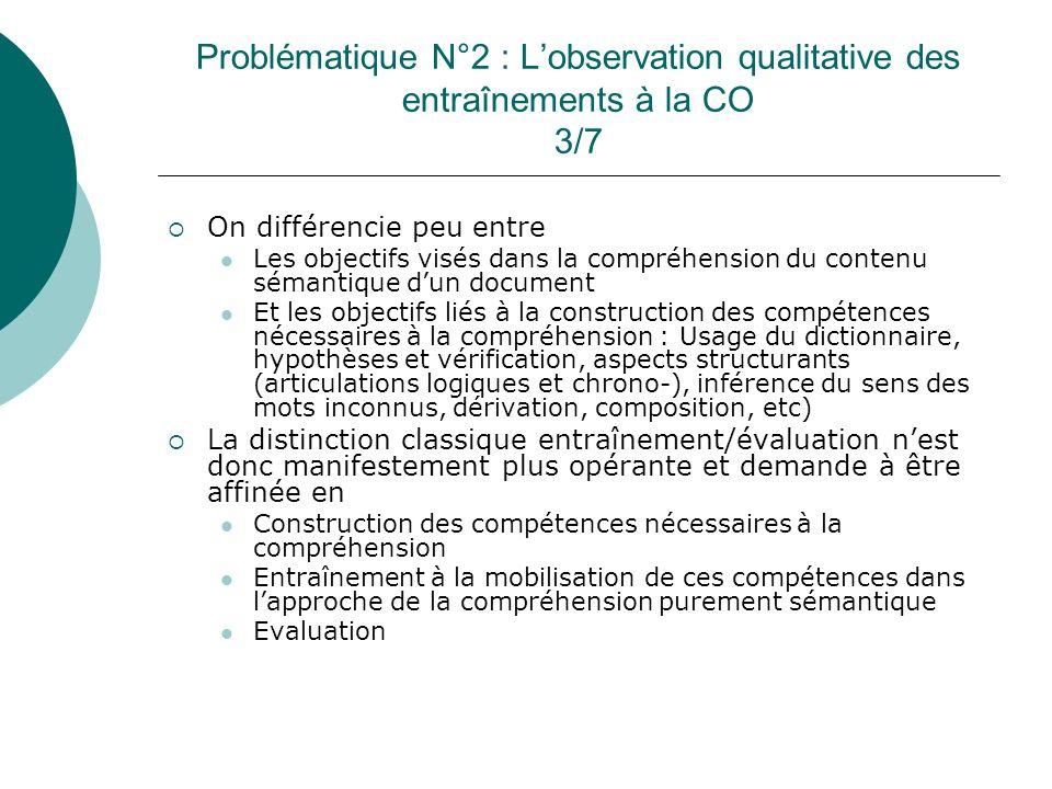 Problématique N°2 : Lobservation qualitative des entraînements à la CO 3/7 On différencie peu entre Les objectifs visés dans la compréhension du conte