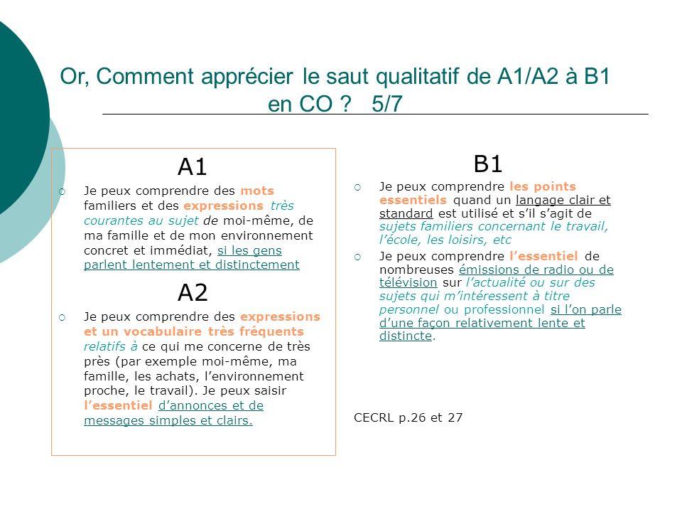 Or, Comment apprécier le saut qualitatif de A1/A2 à B1 en CO ? 5/7 A1 Je peux comprendre des mots familiers et des expressions très courantes au sujet