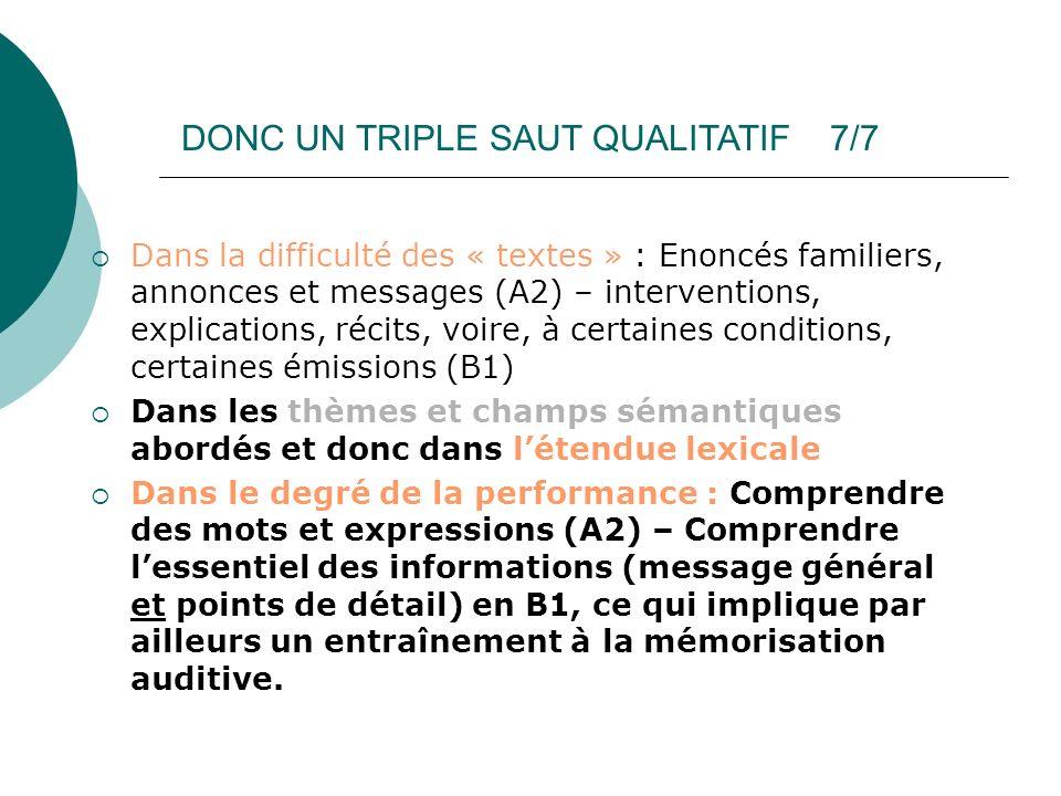 DONC UN TRIPLE SAUT QUALITATIF 7/7 Dans la difficulté des « textes » : Enoncés familiers, annonces et messages (A2) – interventions, explications, réc
