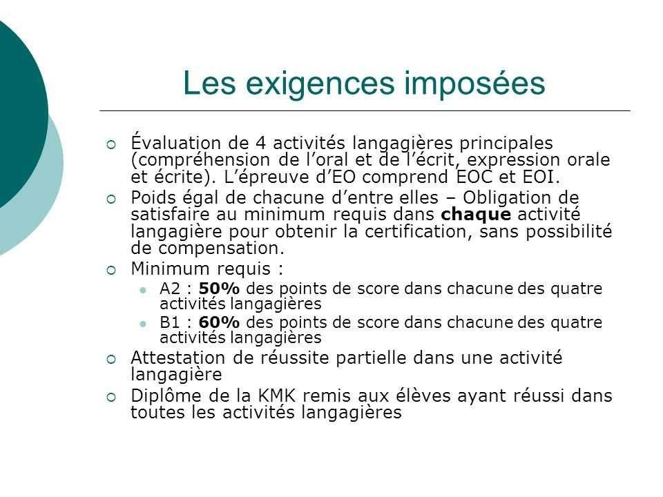 Les exigences imposées Évaluation de 4 activités langagières principales (compréhension de loral et de lécrit, expression orale et écrite).