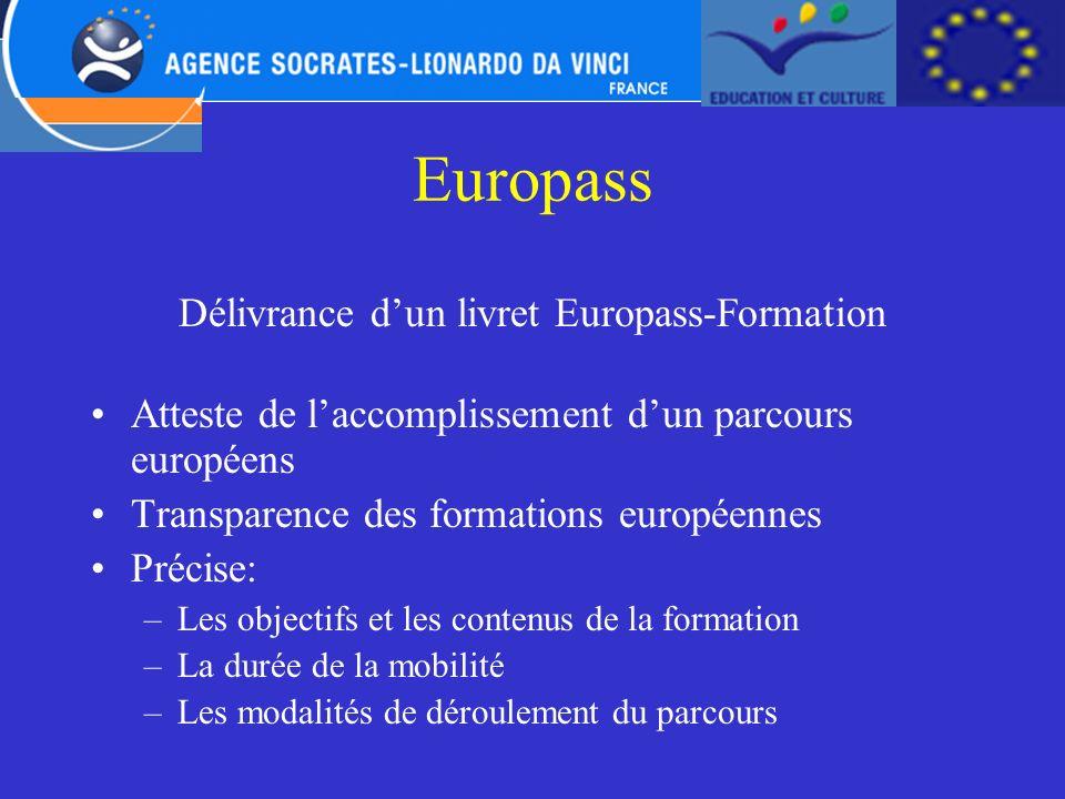 Europass Délivrance dun livret Europass-Formation Atteste de laccomplissement dun parcours européens Transparence des formations européennes Précise: