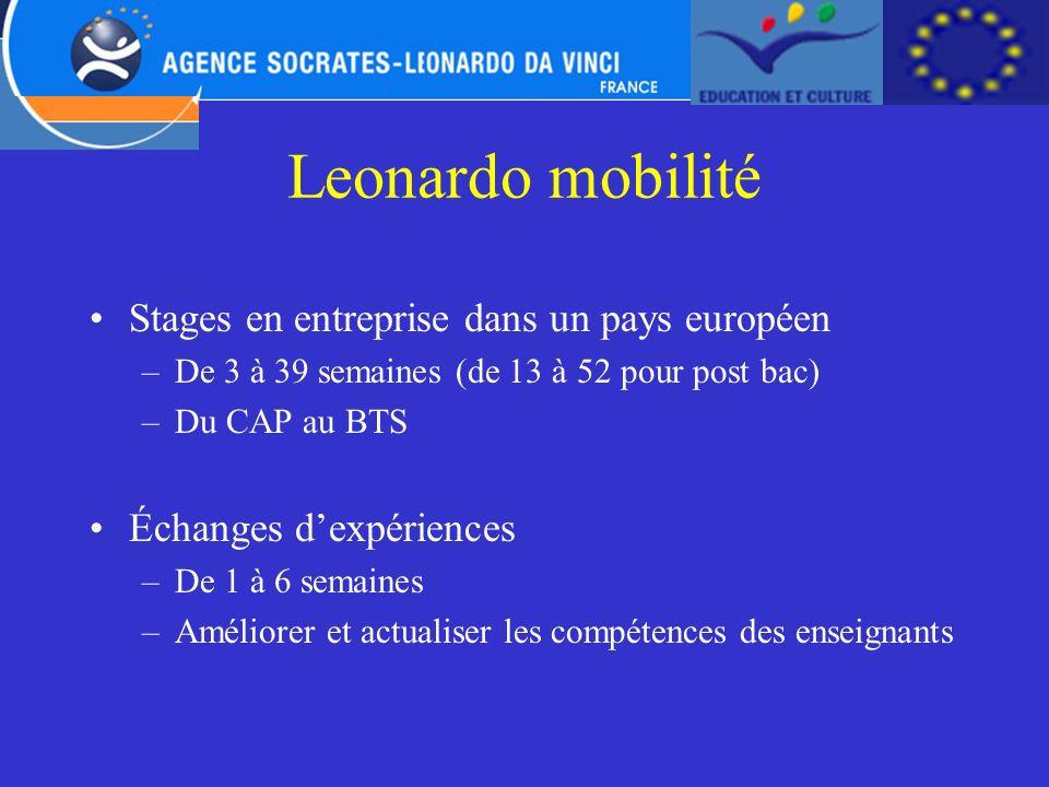 Leonardo mobilité Stages en entreprise dans un pays européen –De 3 à 39 semaines (de 13 à 52 pour post bac) –Du CAP au BTS Échanges dexpériences –De 1