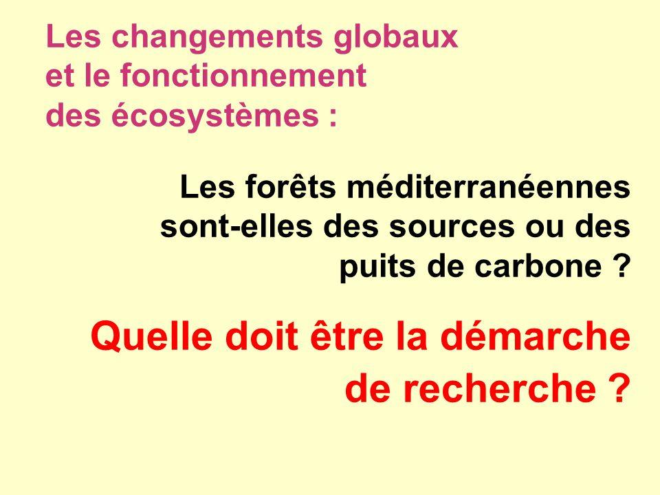 Les changements globaux et le fonctionnement des écosystèmes : Les forêts méditerranéennes sont-elles des sources ou des puits de carbone ? Quelle doi