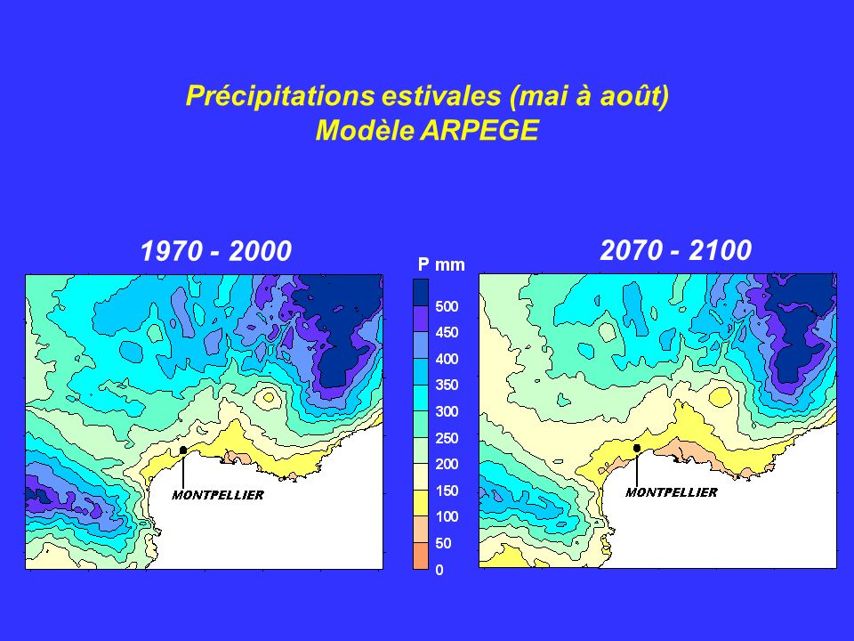 1970 - 2000 2070 - 2100 Températures maximales estivales (mai à août) Modèle ARPEGE