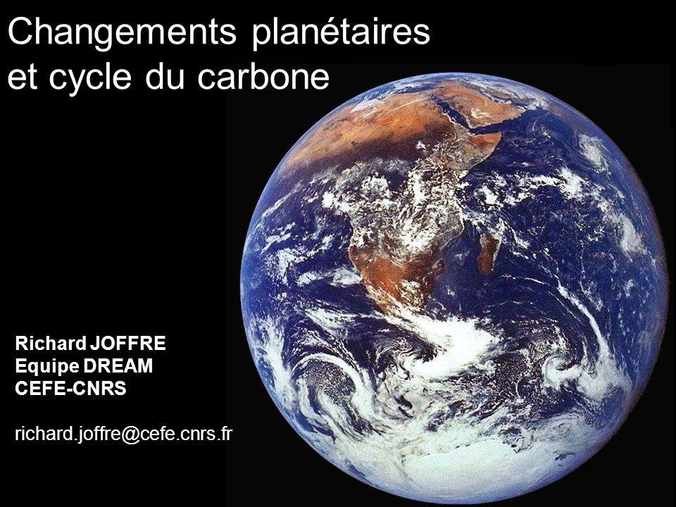 Changements planétaires et cycle du carbone Richard JOFFRE Equipe DREAM CEFE-CNRS richard.joffre@cefe.cnrs.fr