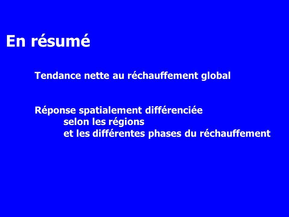 En résumé Tendance nette au réchauffement global Réponse spatialement différenciée selon les régions et les différentes phases du réchauffement