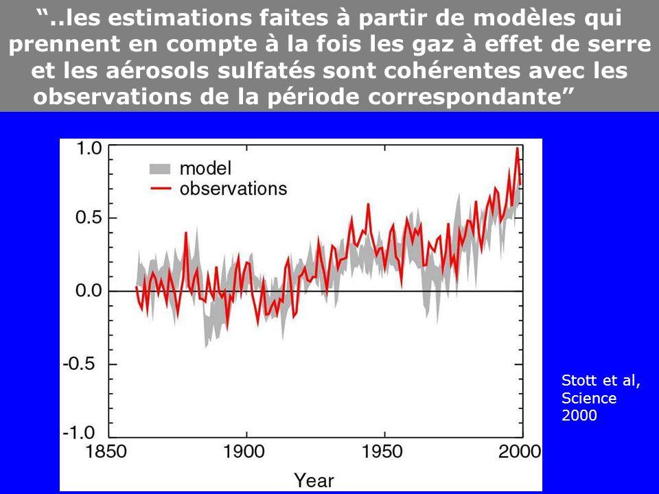 ..les estimations faites à partir de modèles qui prennent en compte à la fois les gaz à effet de serre et les aérosols sulfatés sont cohérentes avec les observations de la période correspondante Stott et al, Science 2000