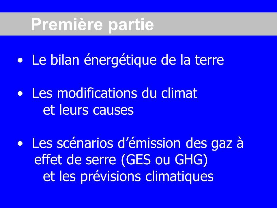 Le bilan énergétique de la terre Les modifications du climat et leurs causes Les scénarios démission des gaz à effet de serre (GES ou GHG) et les prévisions climatiques Première partie