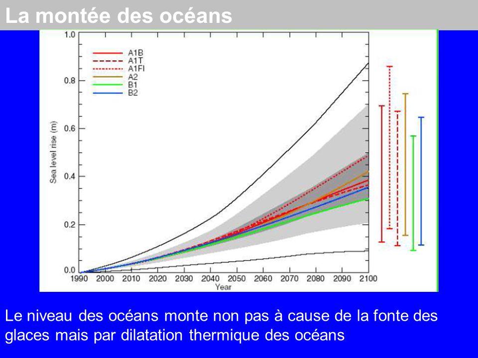 La montée des océans Le niveau des océans monte non pas à cause de la fonte des glaces mais par dilatation thermique des océans
