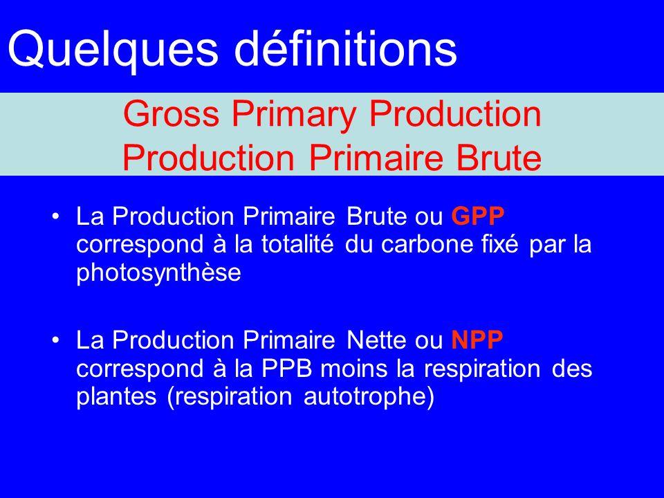 Gross Primary Production Production Primaire Brute La Production Primaire Brute ou GPP correspond à la totalité du carbone fixé par la photosynthèse La Production Primaire Nette ou NPP correspond à la PPB moins la respiration des plantes (respiration autotrophe) Quelques définitions