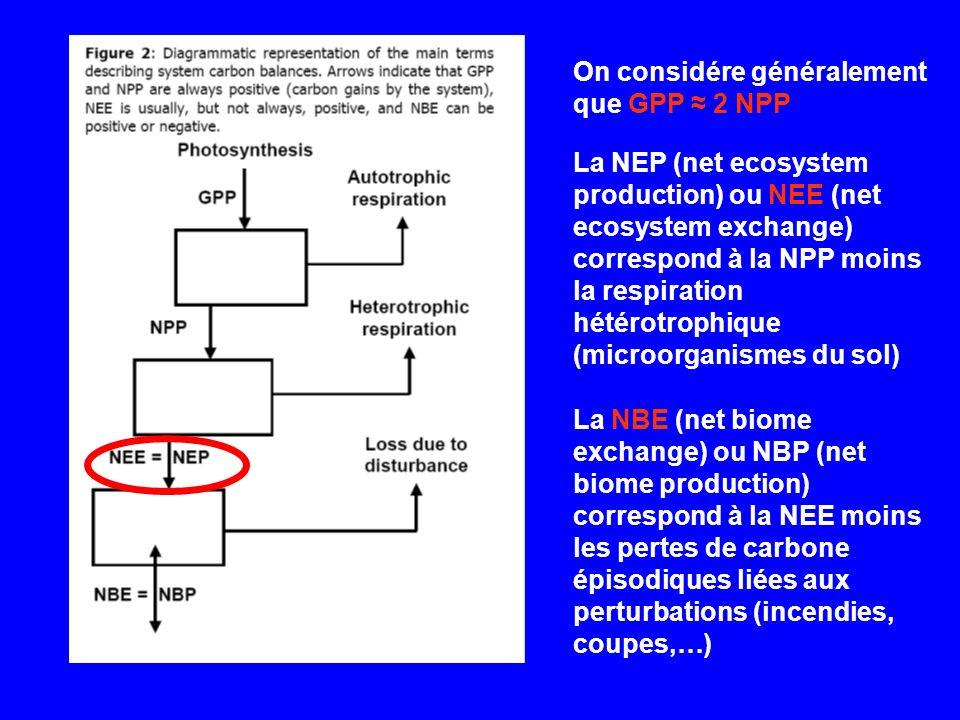 La NEP (net ecosystem production) ou NEE (net ecosystem exchange) correspond à la NPP moins la respiration hétérotrophique (microorganismes du sol) On considére généralement que GPP 2 NPP La NBE (net biome exchange) ou NBP (net biome production) correspond à la NEE moins les pertes de carbone épisodiques liées aux perturbations (incendies, coupes,…)