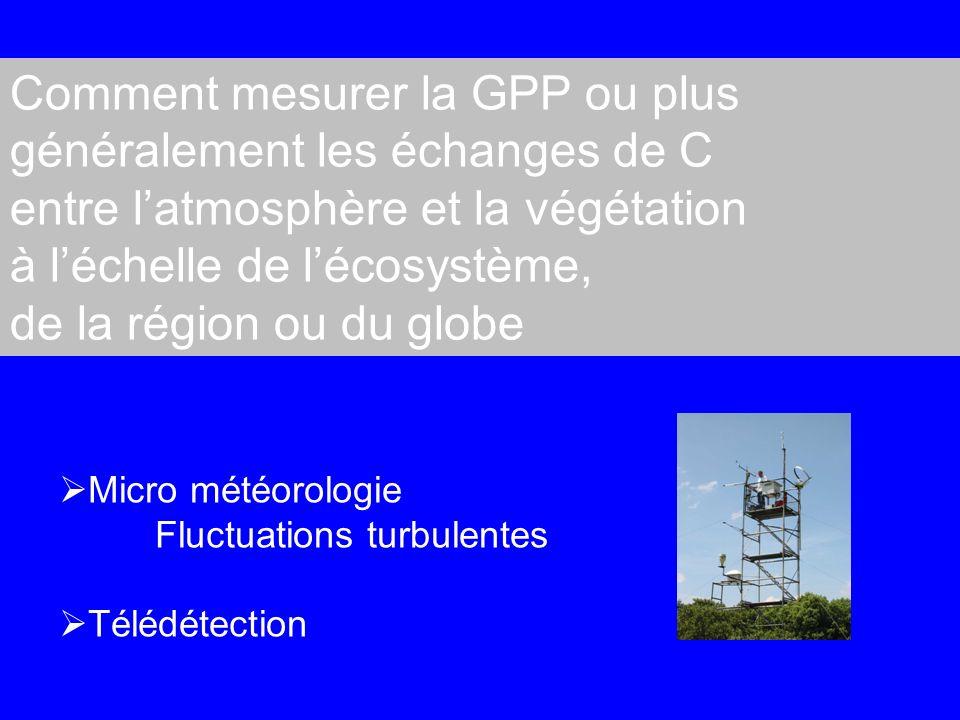 Comment mesurer la GPP ou plus généralement les échanges de C entre latmosphère et la végétation à léchelle de lécosystème, de la région ou du globe Micro météorologie Fluctuations turbulentes Télédétection