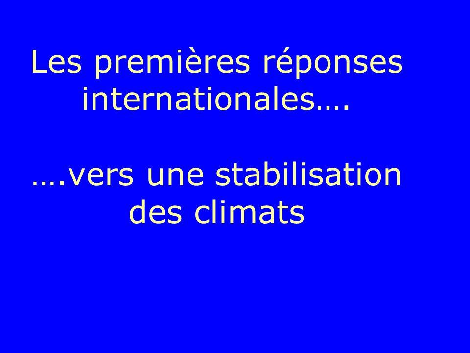 Les premières réponses internationales…. ….vers une stabilisation des climats