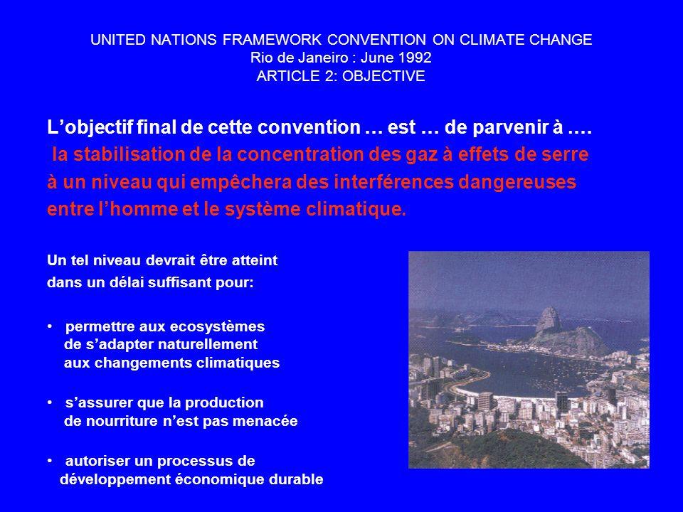 UNITED NATIONS FRAMEWORK CONVENTION ON CLIMATE CHANGE Rio de Janeiro : June 1992 ARTICLE 2: OBJECTIVE Lobjectif final de cette convention … est … de parvenir à.… la stabilisation de la concentration des gaz à effets de serre à un niveau qui empêchera des interférences dangereuses entre lhomme et le système climatique.