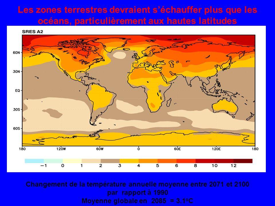 Les zones terrestres devraient séchauffer plus que les océans, particulièrement aux hautes latitudes Changement de la température annuelle moyenne entre 2071 et 2100 par rapport à 1990 Moyenne globale en 2085 = 3.1 o C