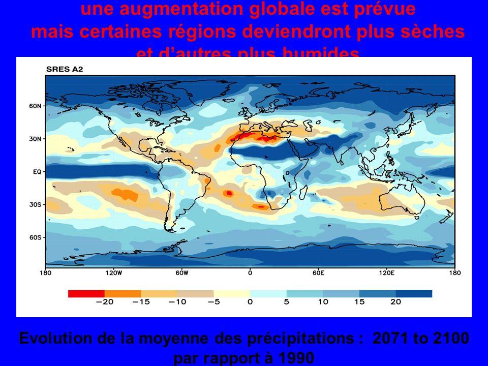 une augmentation globale est prévue mais certaines régions deviendront plus sèches et dautres plus humides Evolution de la moyenne des précipitations : 2071 to 2100 par rapport à 1990