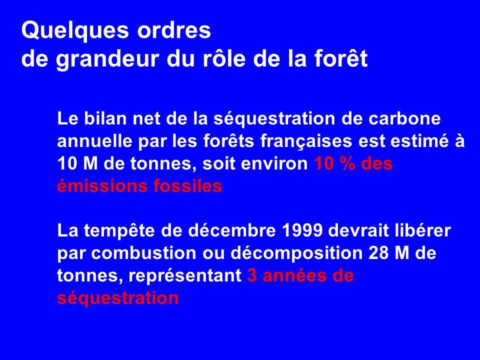 Le bilan net de la séquestration de carbone annuelle par les forêts françaises est estimé à 10 M de tonnes, soit environ 10 % des émissions fossiles La tempête de décembre 1999 devrait libérer par combustion ou décomposition 28 M de tonnes, représentant 3 années de séquestration Quelques ordres de grandeur du rôle de la forêt