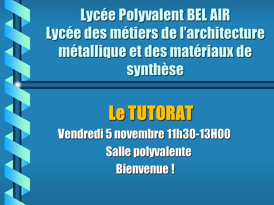 Lycée Polyvalent BEL AIR Lycée des métiers de larchitecture métallique et des matériaux de synthèse Le TUTORAT Le TUTORAT Vendredi 5 novembre 11h30-13H00 Vendredi 5 novembre 11h30-13H00 Salle polyvalente Salle polyvalente Bienvenue .