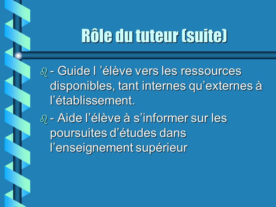 Rôle du tuteur (suite) b - Guide l élève vers les ressources disponibles, tant internes quexternes à létablissement.