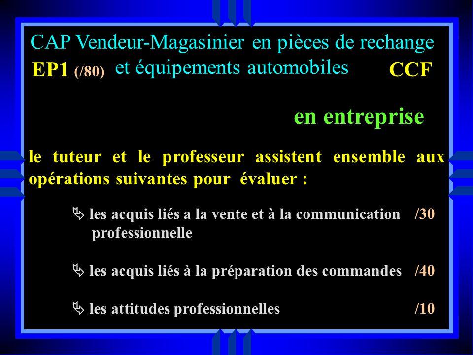CAP Vendeur-Magasinier en pièces de rechange et équipements automobiles EP1 (/80) CCF en centre de formation Dossier informatisé partie administrative