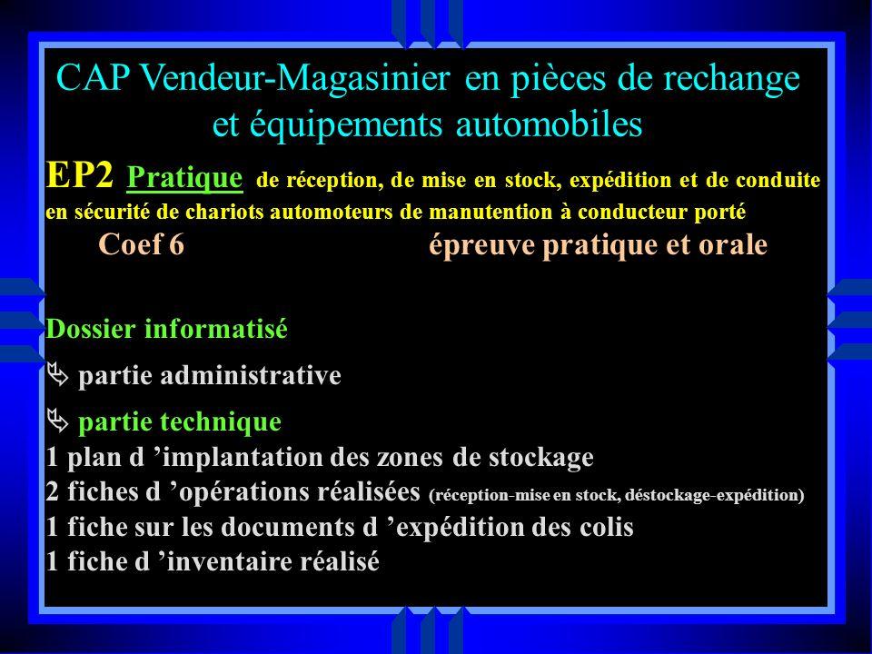 CAP Vendeur-Magasinier en pièces de rechange et équipements automobiles en entreprise le tuteur et le professeur assistent ensemble aux opérations sui