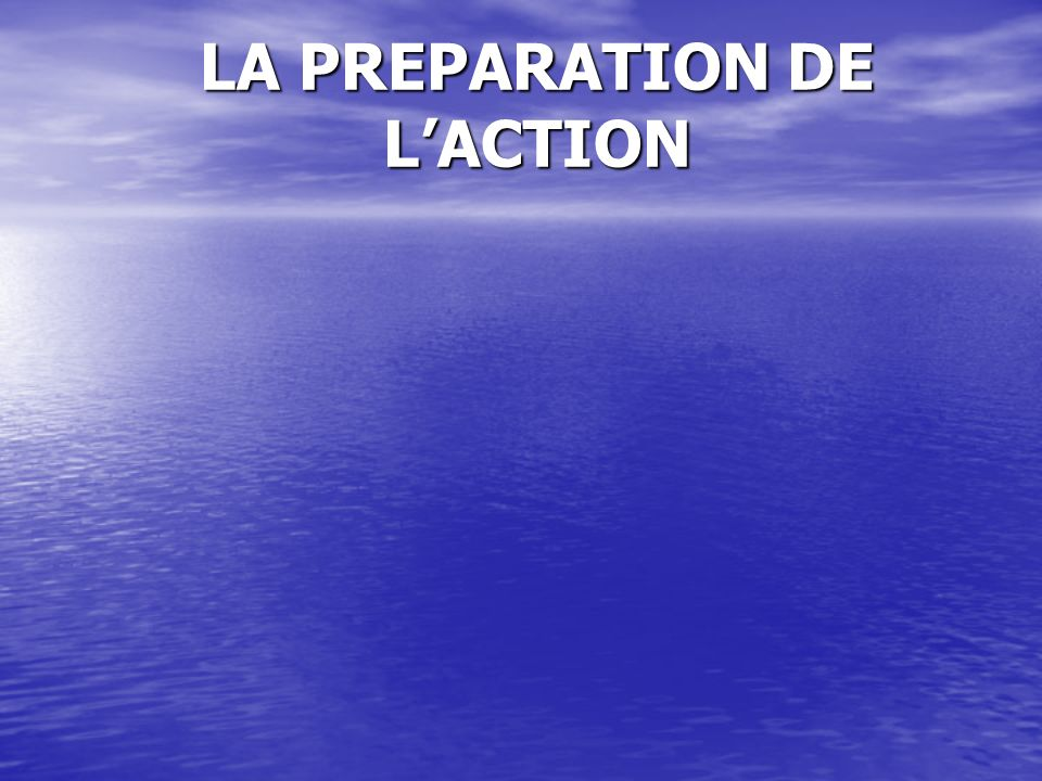 LA PREPARATION DE LACTION
