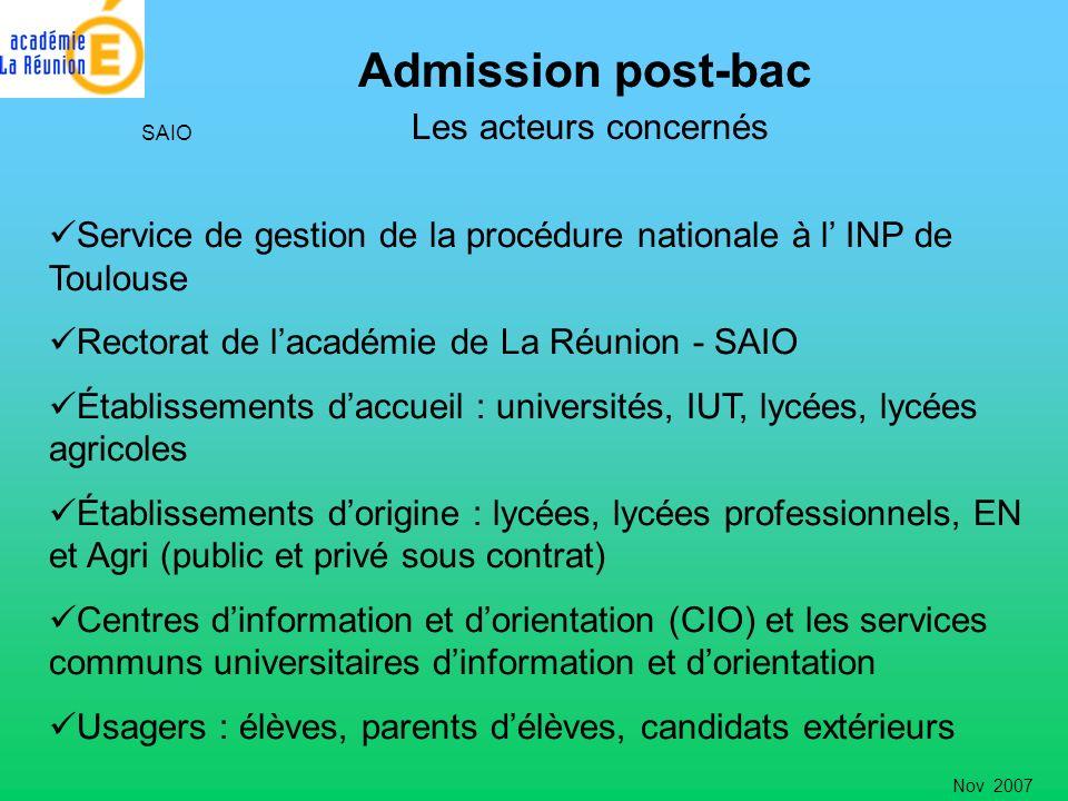 Admission post-bac Les acteurs concernés SAIO Service de gestion de la procédure nationale à l INP de Toulouse Rectorat de lacadémie de La Réunion - S