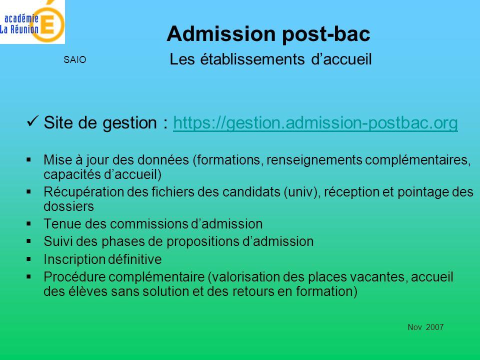 Admission post-bac Les établissements daccueil Site de gestion : https://gestion.admission-postbac.orghttps://gestion.admission-postbac.org Mise à jou