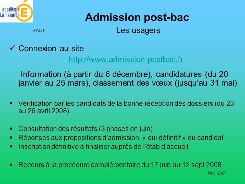 Admission post-bac Les usagers Connexion au site http://www.admission-postbac.fr Information (à partir du 6 décembre), candidatures (du 20 janvier au