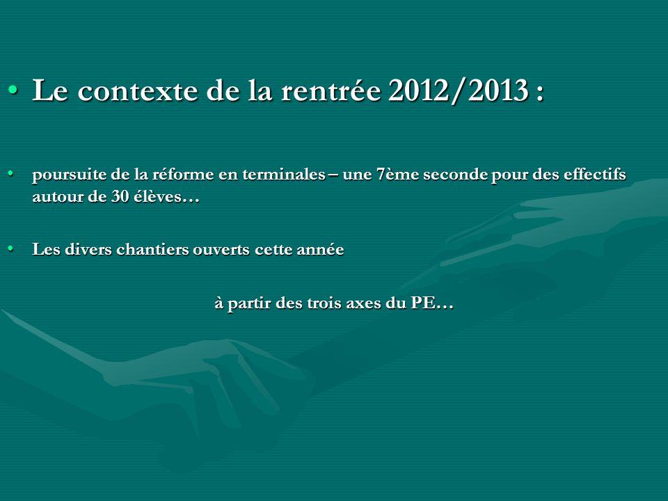 Le contexte de la rentrée 2012/2013 :Le contexte de la rentrée 2012/2013 : poursuite de la réforme en terminales – une 7ème seconde pour des effectifs