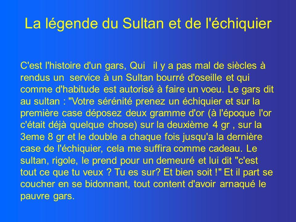 La légende du Sultan et de l'échiquier C'est l'histoire d'un gars, Qui il y a pas mal de siècles à rendus un service à un Sultan bourré d'oseille et q