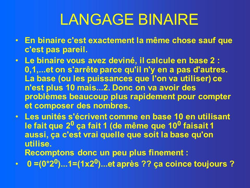 LANGAGE BINAIRE En binaire c'est exactement la même chose sauf que c'est pas pareil. Le binaire vous avez deviné, il calcule en base 2 : 0,1,...et on