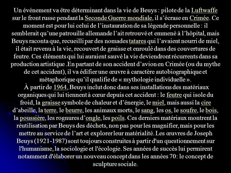 Un événement va être déterminant dans la vie de Beuys : pilote de la Luftwaffe sur le front russe pendant la Seconde Guerre mondiale, il sécrase en Cr