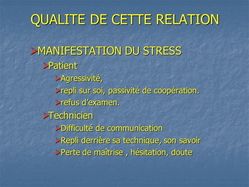 QUALITE DE CETTE RELATION MANIFESTATION DU STRESS MANIFESTATION DU STRESS Patient Patient Agressivité, Agressivité, repli sur soi, passivité de coopération.